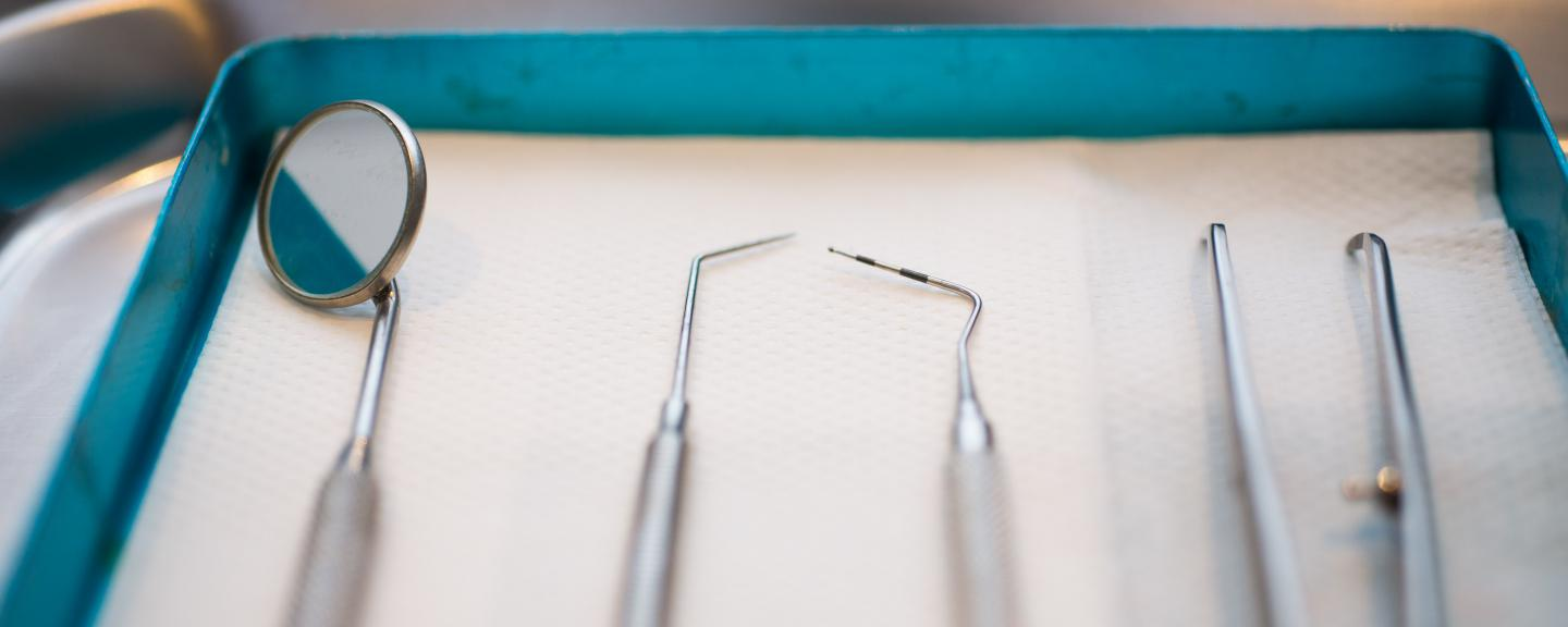 Dentistry equipment laid out on tray