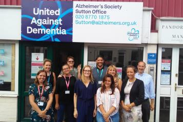 Staff outside dementia pop-up hub