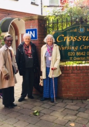 volunteers standing outside crossways care home