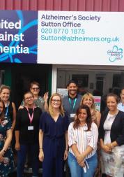 Staff outside dementia pop-up hub